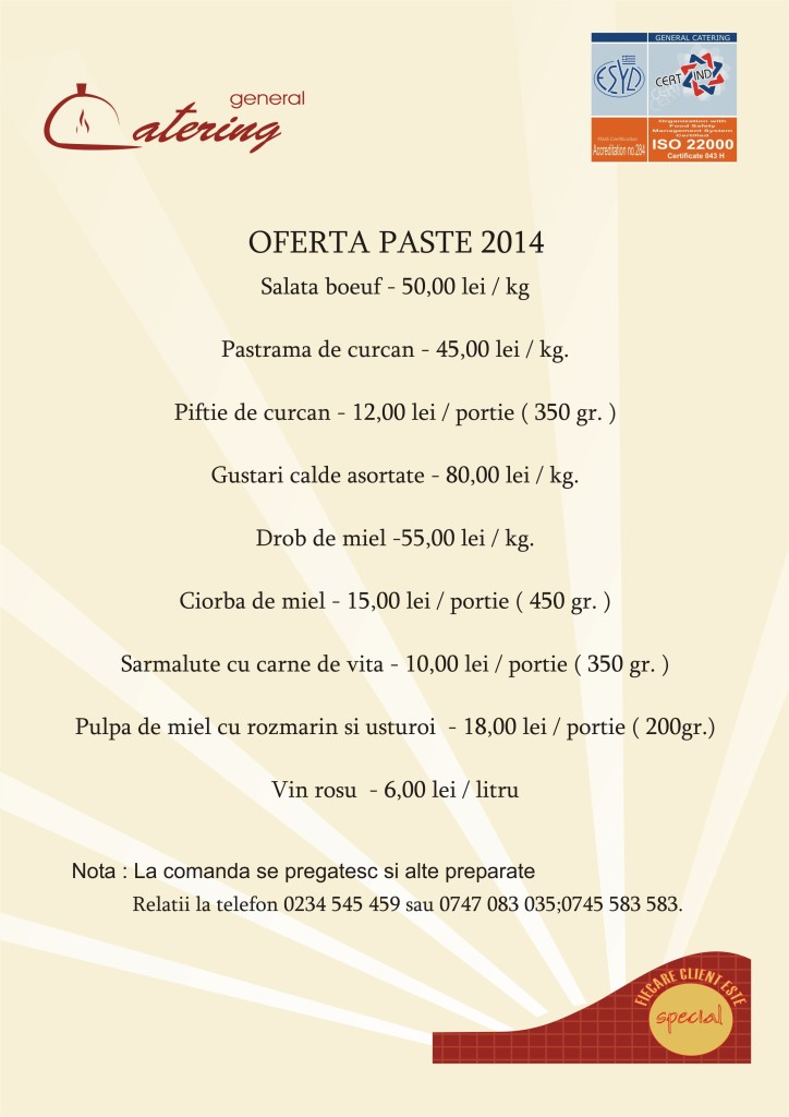 OFERTA PASTE 2014